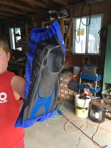 Scuba flippers and snorkel with bag