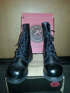 """ROTHCO LEATHER BLACK COMBAT BOOTS """"NEW'"""