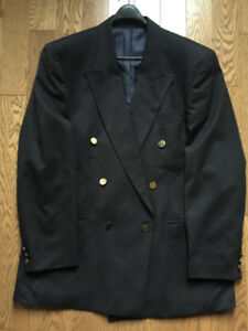 MEN'S PEERLESS DOUBLE BREASTED NAVY BLAZER 44T LIKE NEW!