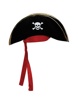 Adult Black Pirate Captain Hat & Red Scarf Fancy Dress Skull Caribbean Halloween