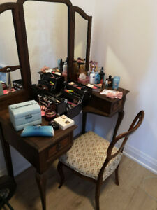 Antique solid wood makeup vanity and chair