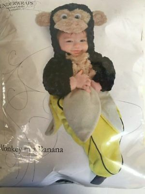 Monkey Banana Kostüm (NEW Infant 0-6 months Monkey in a Banana Bunting Halloween Costume Underwraps)