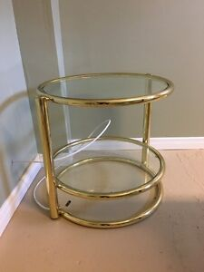 Round Glass Side Table with Gold Plating