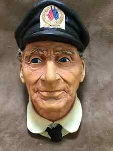 """BOSSONS """"Sea Captain"""" Painted Chalkware Head"""