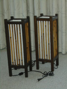 Pair of matching Japanese-style floor lamps