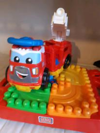 Lego table and ride on lego fire engine