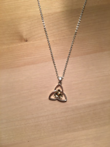 Sterling Silver with gold Celtic Trinity Knot Necklace