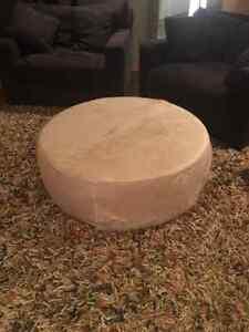 Round hide restoration hardware ottaman perfect condition Windsor Region Ontario image 2