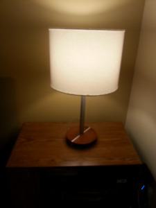 Silver and wood desk lamp