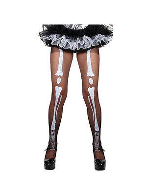 Adult Black Skeleton Print Tights Fancy Dress Costume Sexy Halloween Ladies - Tight Black Dress Halloween Costumes