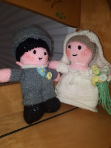 Hand made, knit dolls