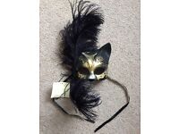 Handmade Venetian Cat and Feather Face Mask