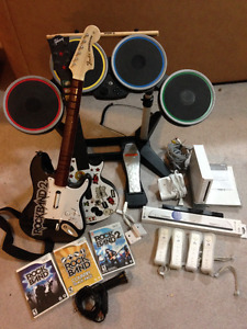 Nintendo Wii with Rock Band and games