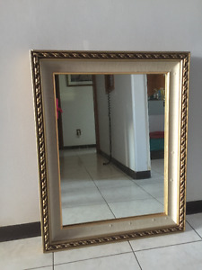 Framed Mirror Good quality, heavy glass Approx. 24 x 30 inches $