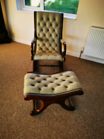 Green leather rocking chair and foot stool