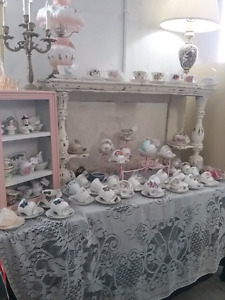 Cup & saucers, linens, lamps, jars soap holders plus 1000 booths
