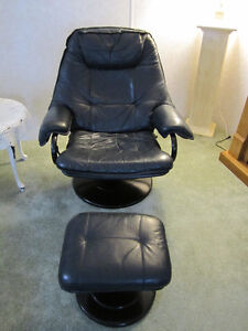 Leather Reclining Chair & Footstool