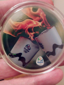 WOW Large 50mm 2016 Rio Olympics Torch Polished, Colored Coin.