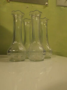 Vintage Randall Clear Glass Bud Vase with Scallop Top, R