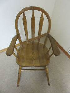 Solid Oak Wood Child's Rocking Chair