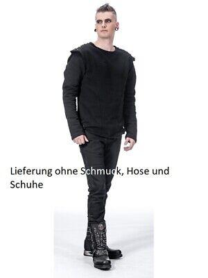Schwarzer Pullover mit Nieten und Rundhals von Queen of Darkness SH22-215