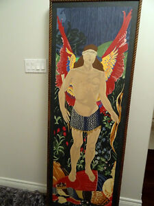 huge NATIVE INDIAN RENDERING The TRIUMPH of LOVE painting 6'