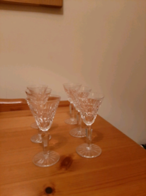 Set of six beautiful vintage Waterford Crystal Sherry Glasses for sale