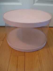 """LARGE 14.5"""" wide ROUND VINTAGE QUILTED-TOPPED SEE-THRU HAT BOX"""