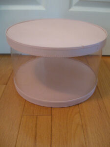 "LARGE 14.5"" wide ROUND VINTAGE QUILTED-TOPPED SEE-THRU HAT BOX"