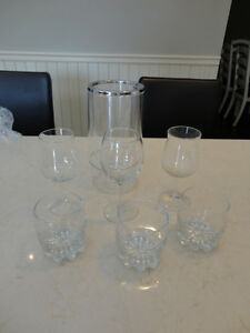 Never Used Clear Wine Cooler Ice Bucket, 3 Rye & 3 Wine Glasses