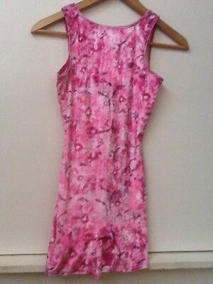 Danskin Girls Dance Gymnastics Pink Floral Print Body Suit Large 10 / 12 (Danskin Bodysuit)