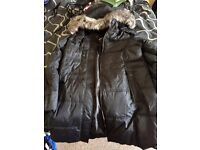 Hawke & co ladies winter coat fur trim size 16 quilted