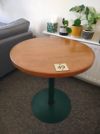 Café table, wood top and green metal stand