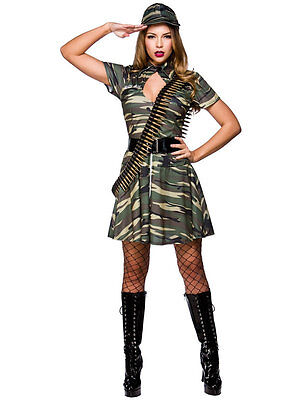 Ladies Army Combat Cutie Military Soldier Camouflage Costume + Hat UK Sizes 6-24