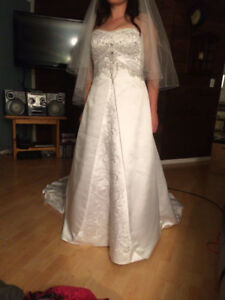 Beautiful wedding dress and veil