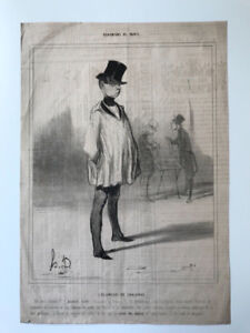 """ORIGINAL HONORE DAUMIER LITHOGRAPH ON PAPER 1839 """""""