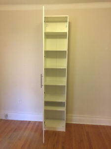 SINGLE White PAX wardrobe (IKEA) with shelves and door