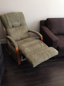 Recliner olive green fabric super comfortable $150 Langley