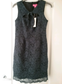 MONSOON Fusion Ladies Grey/Blue Floral Lace ELISE Party Dress UK 12