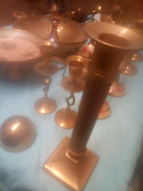 Brass ornaments, bowels, candles holders