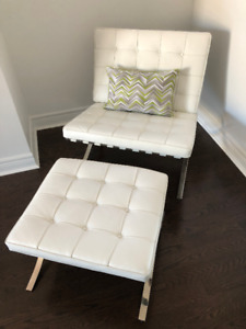 FS: White Leather Barcelona Chair and Ottoman