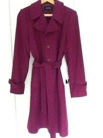 Jaeger wool trench style coat - raspberry, size 10