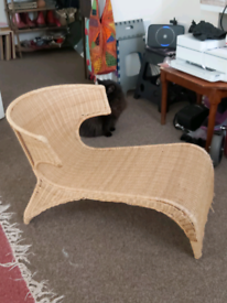 1990s IKEA one off ergonomic wicker chair.