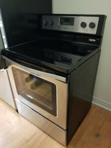 "Whirlpool stainless steel 30"" electric glass ceramic top stove"