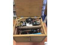 Box with Vintage fishing items