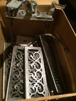 Box of  miscellaneous vent covers and sink faucet