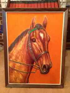 Wooden framed cloth horse picture for sale