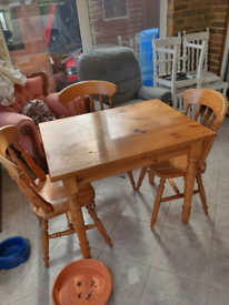 Wooden dining table & 3 chairs
