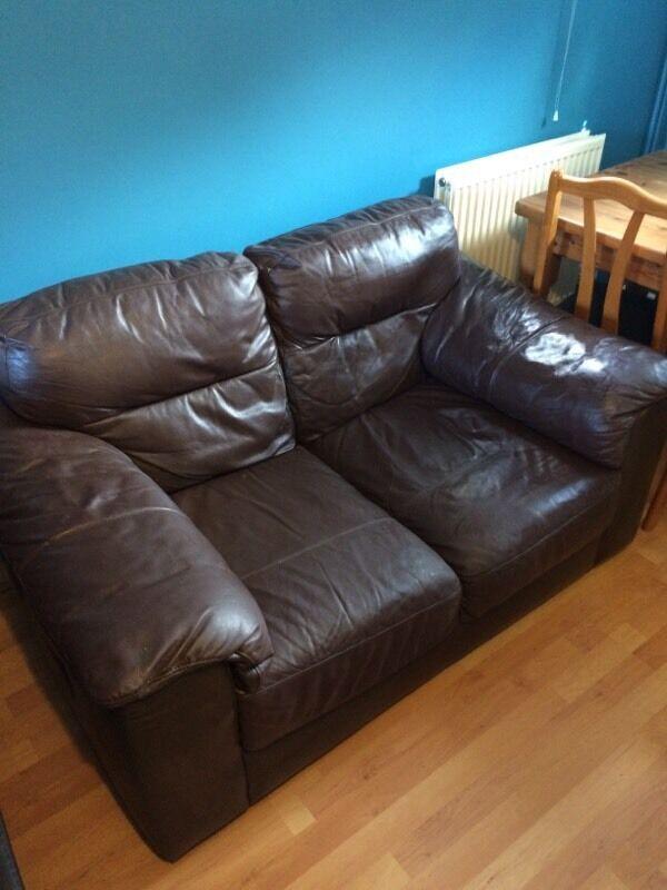 Brown leather sofa | in Norwich, Norfolk | Gumtree