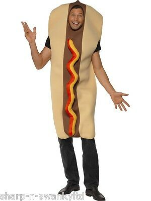 Mens Giant Hot Dog Food Sausage Frankfurter Stag Do Fancy Dress Costume Outfit